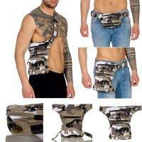 YAKUZA Damen Herren Unisex 3 in 1 Gürtel Bauch Bein Crossover Tasche Camouflage Beige