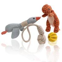 MAXX Hundespielzeug Set Spielzeug für Hunde quietschend aus Plüsch mit Quietscher für kleine und große Hunde