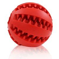 MAXX Hundespielzeug Spielzeug Zahnplfege für Hunde Futter Ball Kauball für kleine und mittlere Hunde 2er Set Bälle Rot Grün