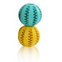 MAXX Hundespielzeug Spielzeug Zahnplfege für Hunde Futter Ball Kauball für kleine und mittlere Hunde 2er Set Bälle Gelb Blau