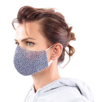 YOU`RE PROTECTED Community Thai Maske 2-Lagig unisex Pattern Blue-White Größe L
