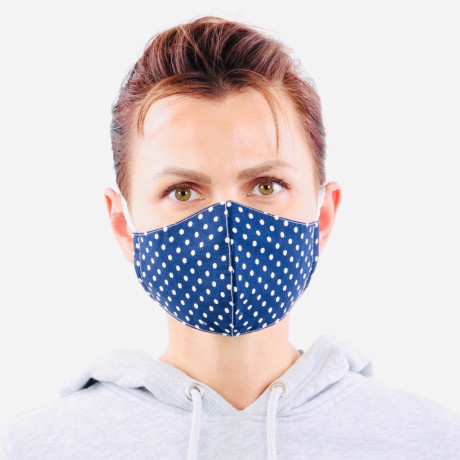 YOU`RE PROTECTED Community Thai Maske 2-Lagig unisex Dot Blue-White