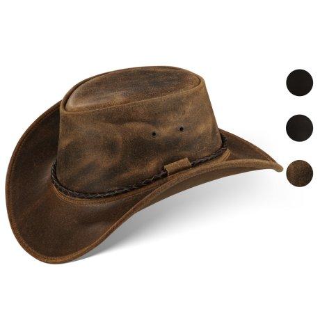Black Forest Fox Herren Western Cowboy Rindsleder Hut JERO Größe S Vintage Braun