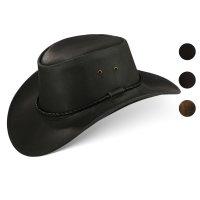 Black Forest Fox Herren Western Cowboy Rindsleder Hut JERO Größe M Schwarz