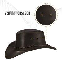 Black Forest Fox Herren Western Cowboy Rindsleder Hut JERO Größe XL Braun