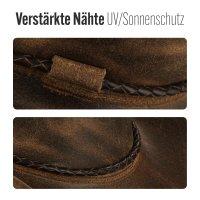 Black Forest Fox Herren Western Cowboy Rindsleder Hut JERO Größe XL Vintage Braun