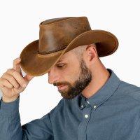 Black Forest Fox Herren Western Cowboy Rindsleder Hut JERO Größe XXL Vintage Braun
