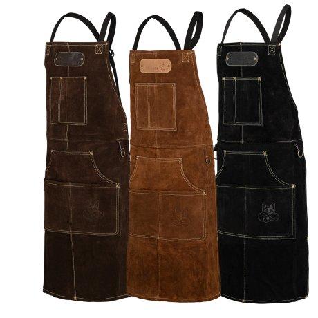 Black Forest Fox ROUGH Büffel Rau Wild Leder Arbeitsschürze, Grillschürze BBQ Kochschürze in 3 Farben