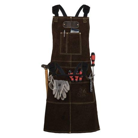 Black Forest Fox ROUGH Büffel Rau Wild Leder Arbeitsschürze, Grillschürze BBQ Kochschürze in Dunkelbraun