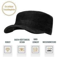 Black Forest Fox Herren Leder CUBA Cap Hut Schirmmütze in Black