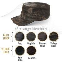 Black Forest Fox Herren Leder CUBA Cap Hut Schirmmütze in Vintage-Brown