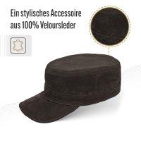 Black Forest Fox Herren Leder CUBA Cap Hut Schirmmütze in Marrone