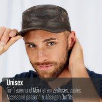 Black Forest Fox Herren Leder CUBA Cap Hut Schirmmütze in Nero-Anilin