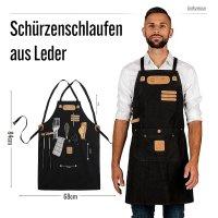 Black Forest Fox ART Arbeitsschürze, Grillschürze BBQ Kochschürze Canvas in Schwarz