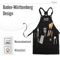 Black Forest Fox COMFORT Arbeitsschürze, Grillschürze BBQ Kochschürze Canvas Schwarz-Comfort
