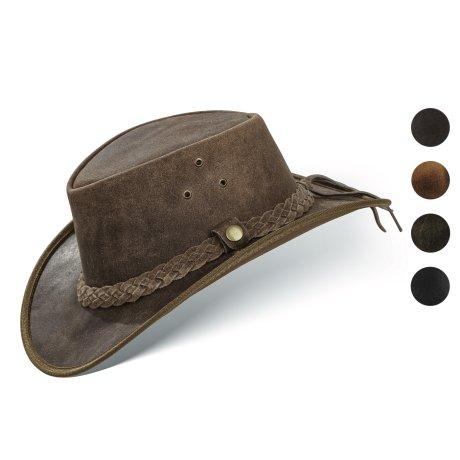 Black Forest Fox TEXAS Unisex Western Reiten Cowboy Leder Hut Vintage Brown Größe M
