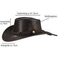 Black Forest Fox TEXAS Unisex Western Reiten Cowboy Leder Hut Horse Brown Größe L