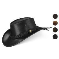 Black Forest Fox TEXAS Unisex Western Reiten Cowboy Leder Hut Black Größe XL