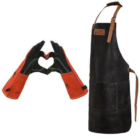 Black Forest Fox SET Büffelleder Grill Koch & Küchen Schürze + Kamin Ofen Grill Schweißer feuerfeste Handschuhe BARMAN- Set3