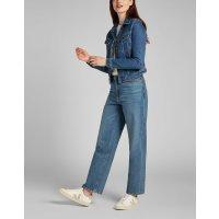 LEE JEANS Damen Stretch Denim Jeans Jacke RIDER Worn Iris Blau L54MM Größe S